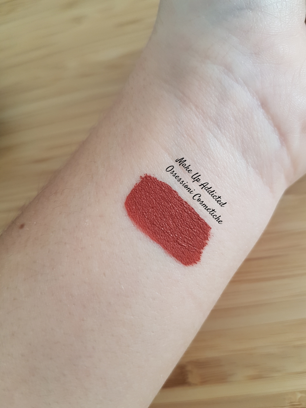 too faced melted matte gingerbread man swatch